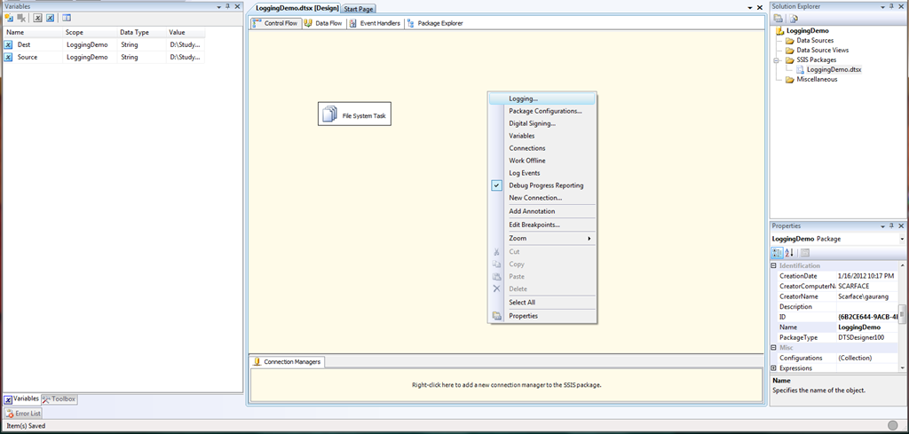 Logging in SSIS Package