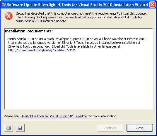 Silverlight Tools for Visual Studio 2010 fails to install