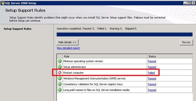 """SQL Server Installation Rules and """"System Reboot Required"""" Error"""