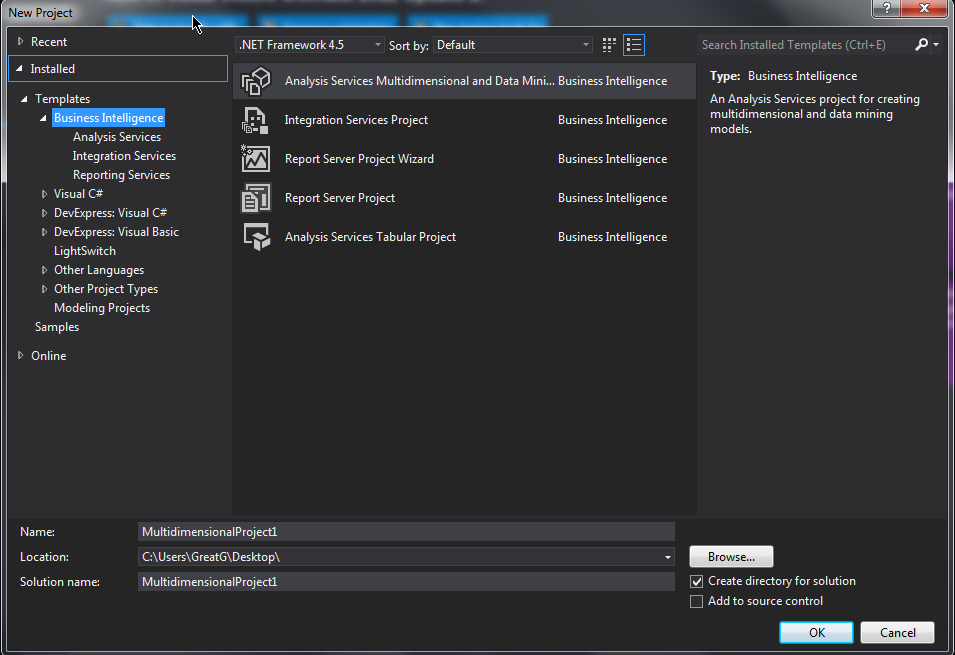 Bi templates in visual studio 2012ssdt bi tools friedricerecipe Image collections